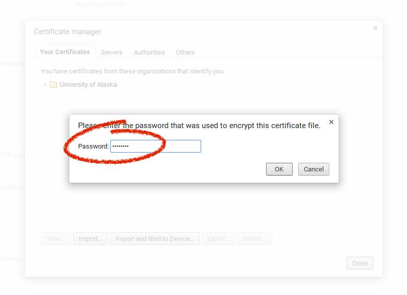 certificate password